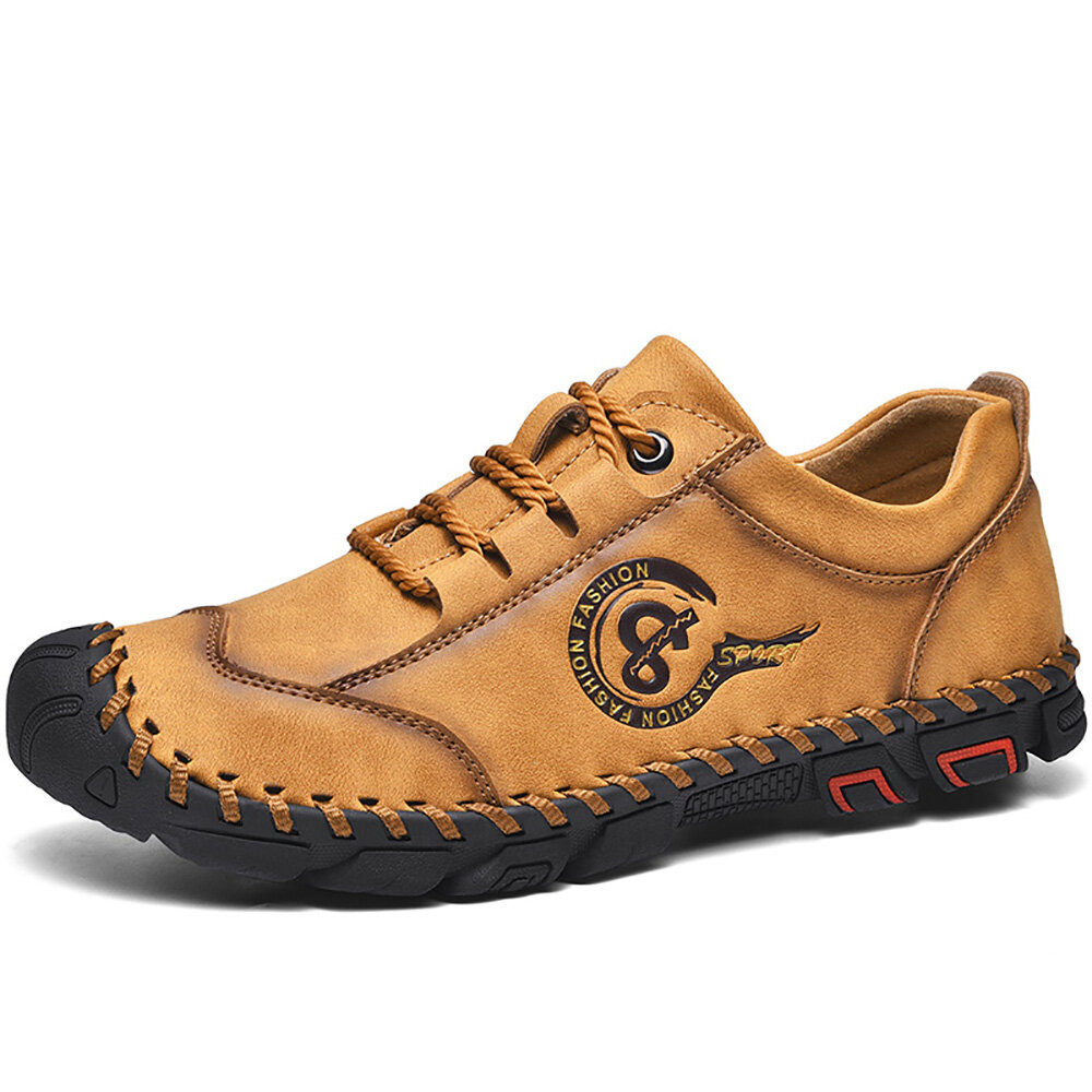 Men Hand Stitching Slip Resistant Soft Sole Daily Casual Shoes Flats