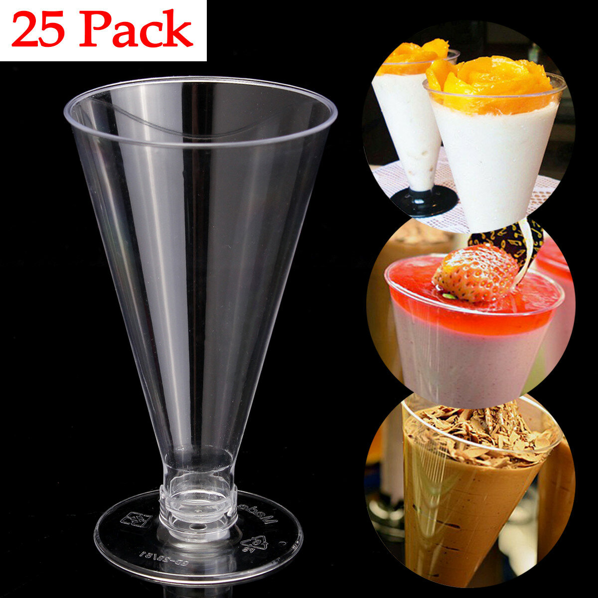 25Pcs Dessert Mousse Cake Cup Canape Dishes Clear Plastic Jelly Goblet Party