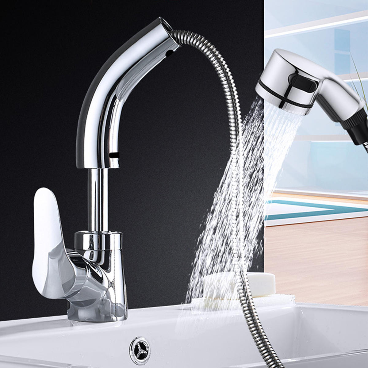Kitchen Sink Faucet Pull Out Rotation Spray Mixer Liftable Cold And Hot Water Faucet