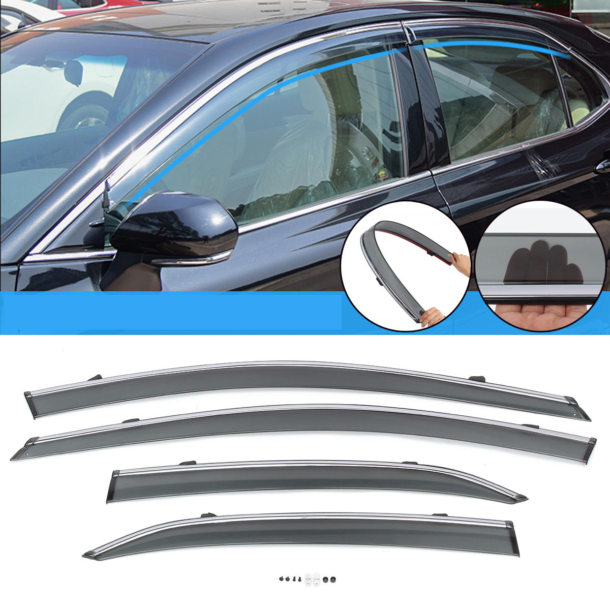 Chrome Trim 4Pc / Set Car Polycarbonate Window Sun Visor för Toyota Camry 2018