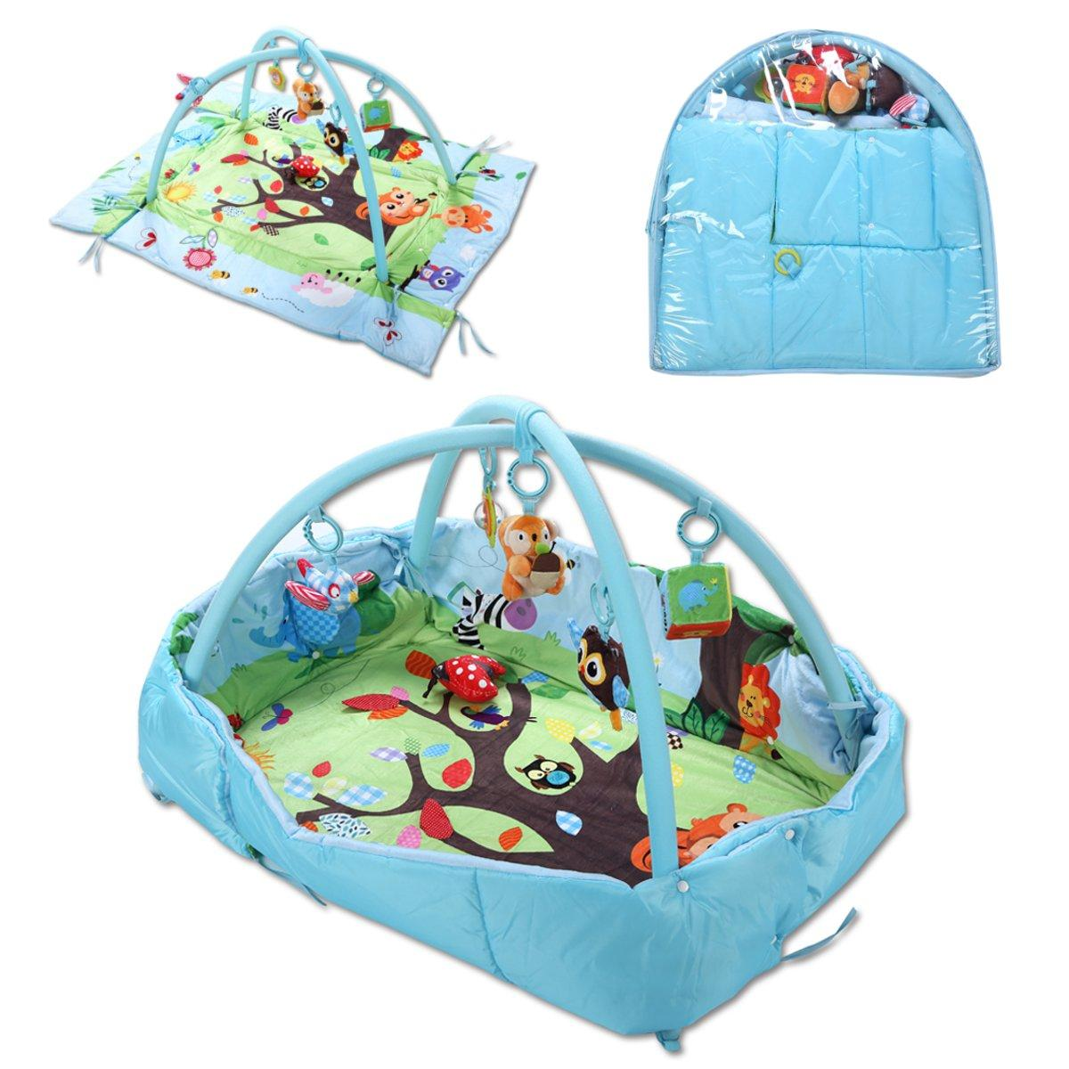 3 In 1 Baby Toys Mat Cartoon Soft Newborn Infant Kids Activity Gym Playspot Foam