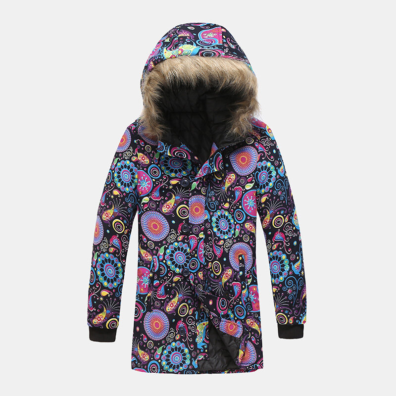 Fashion Hooded Multi Pattern Printing Thickened Warm Casual Coats