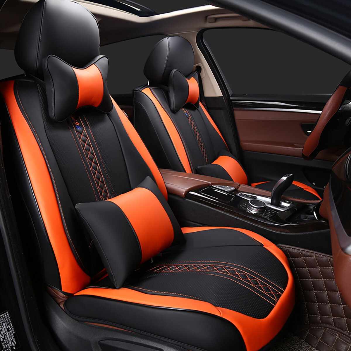 Car Seat Cover Design >> Wear Resistant Leather Universal 5 Seat Car Seat Covers Cushion Set 3d Full Surround Design