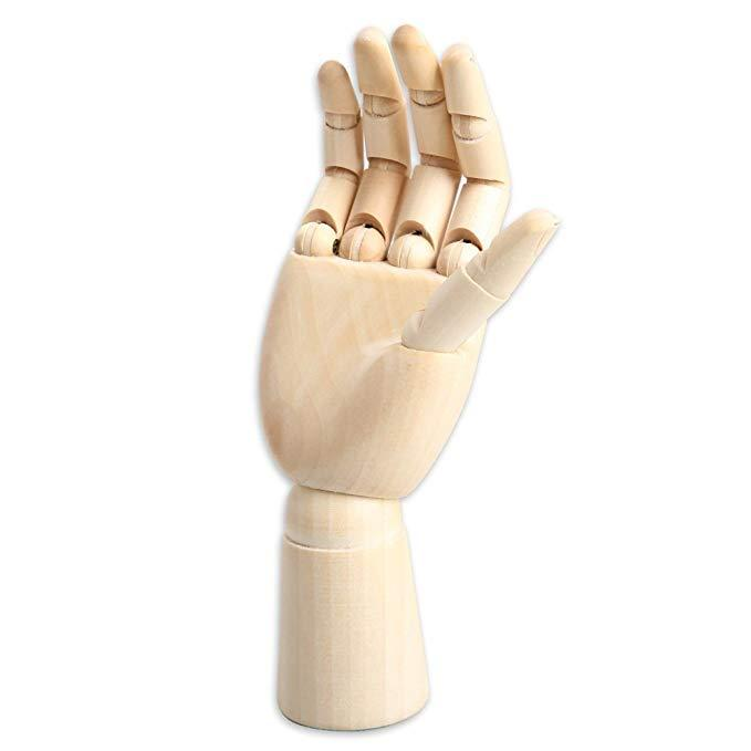 Wood Art Mannequin Hand Model Statue,Sketching and More Pen Holder//Phone Holder- Right, 10 inch 10 inch Painting Female Hand
