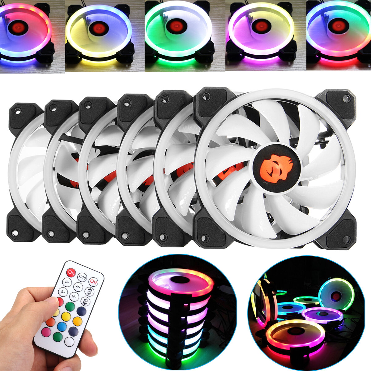 Coolmoon 6PCS 120mm Adjustable RGB LED Light Computer PC Case Cooling Fan with Remote