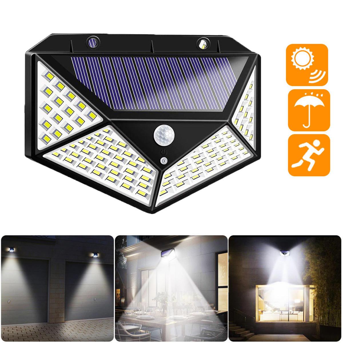 100 LED Solar Powered PIR Motion Sensor Street Wall Light Outdoor Security Lamp