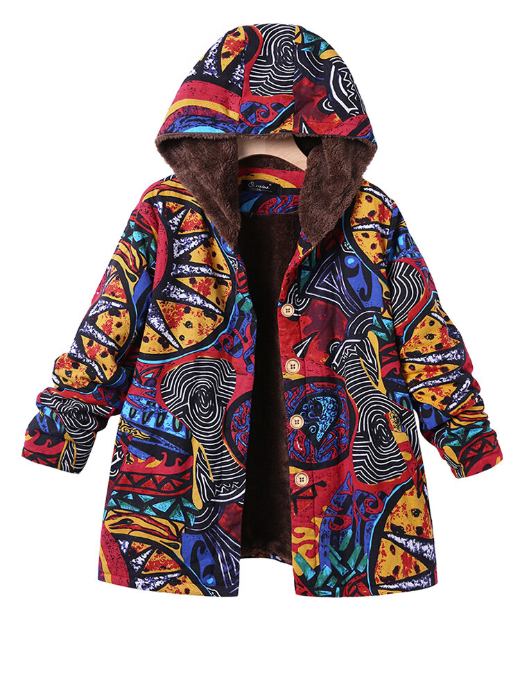 Casual Printed Hooded Jackets Coats with Pockets