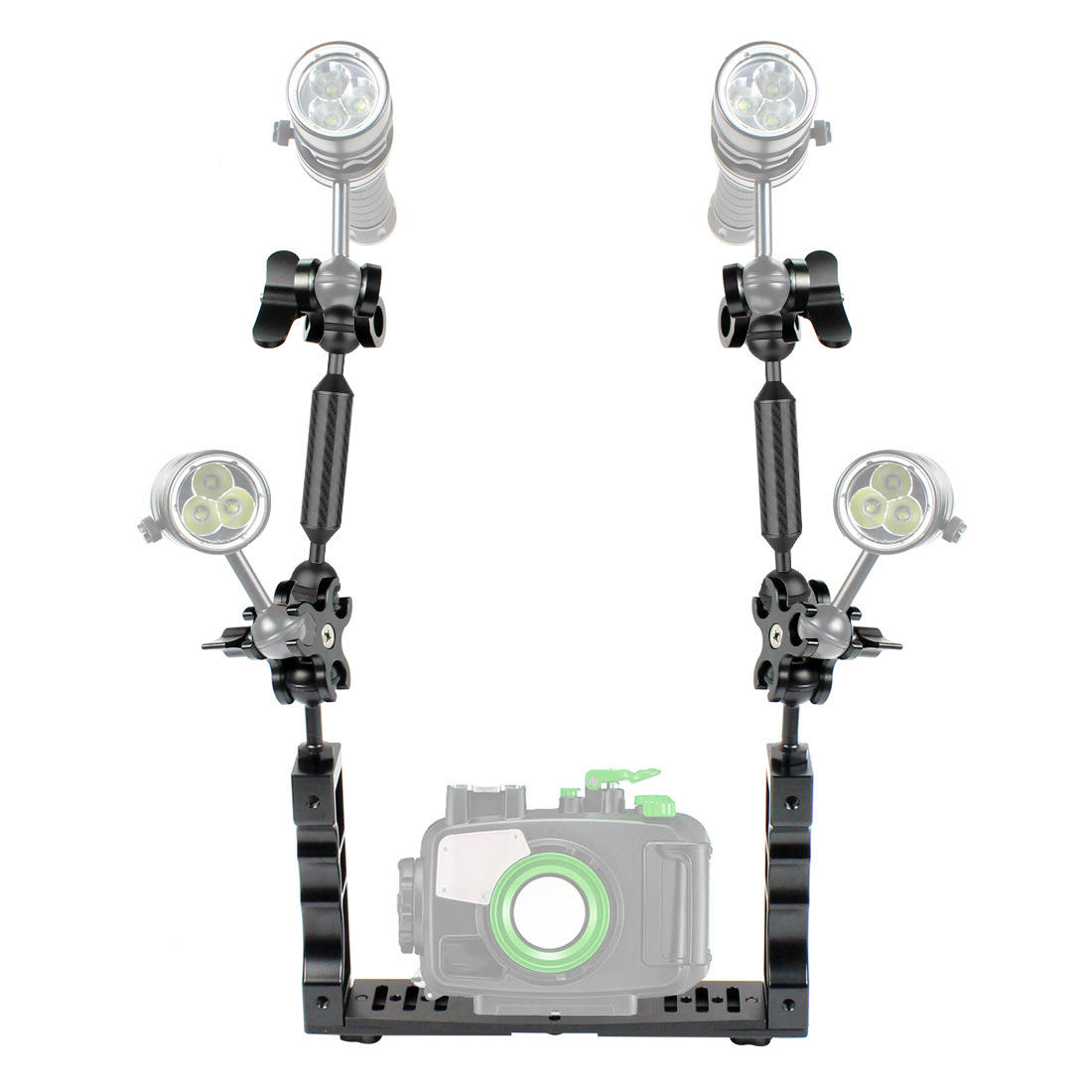 """Ball Clamp Mount for Diving Underwater Strobe Tray 5/"""" Dual 1/"""" Ball Adapter Arm"""