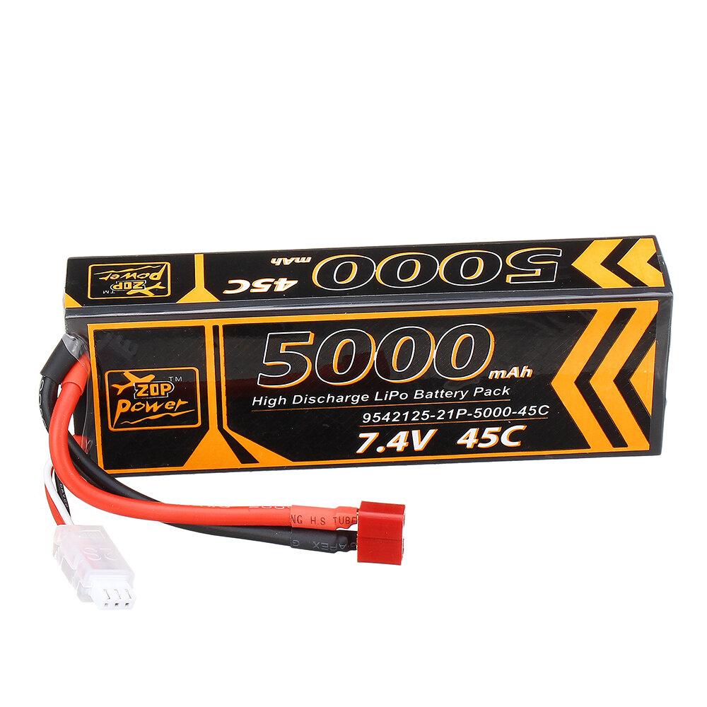 ZOP Power 7.4V 5000mAh 45C 2S Lipo Батарея T Plug для 1/10 RC Racing Авто