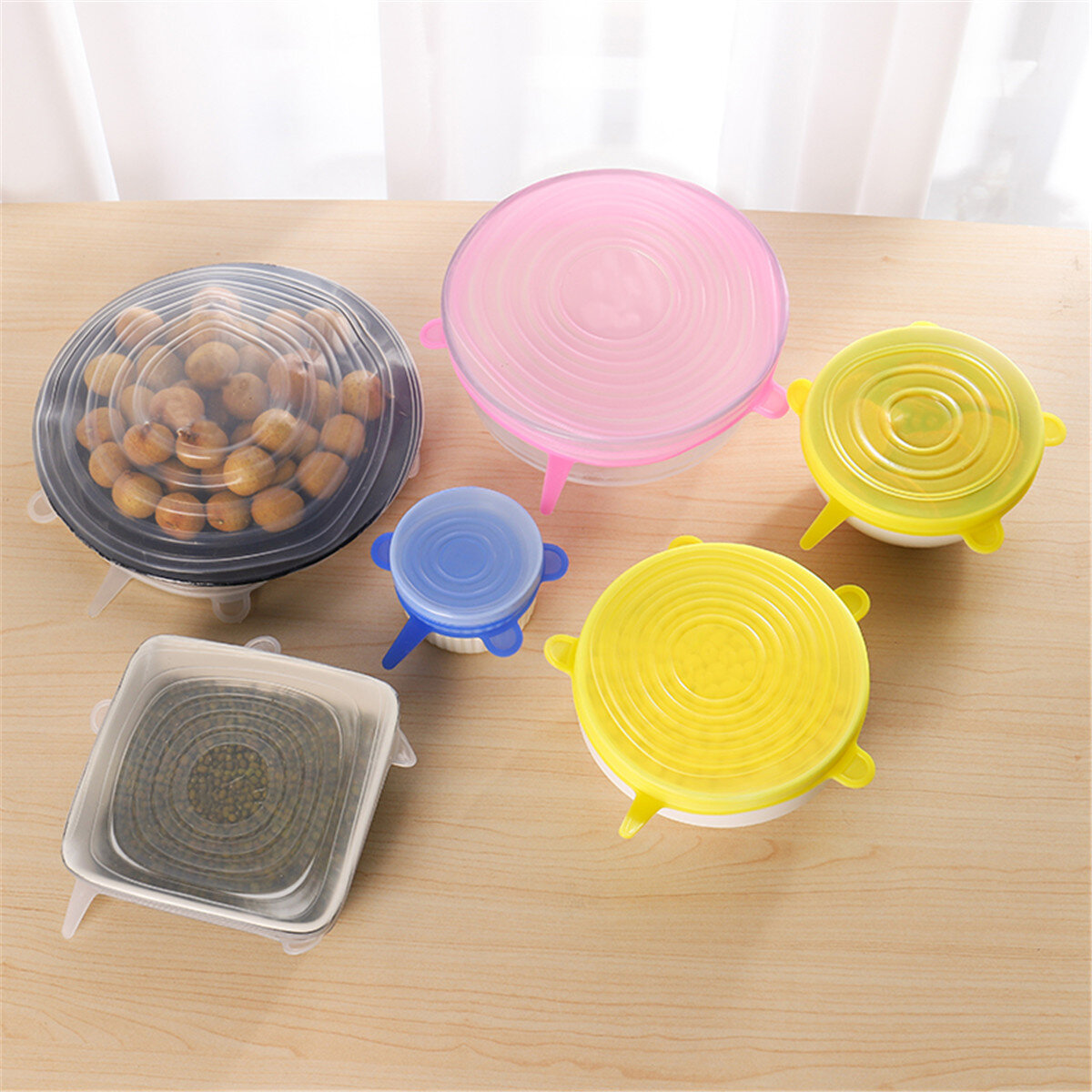 6Pcs Stretch Silicone Kitchen Food Bowl Container Cover Storage Wraps Seals Reusable Lids фото