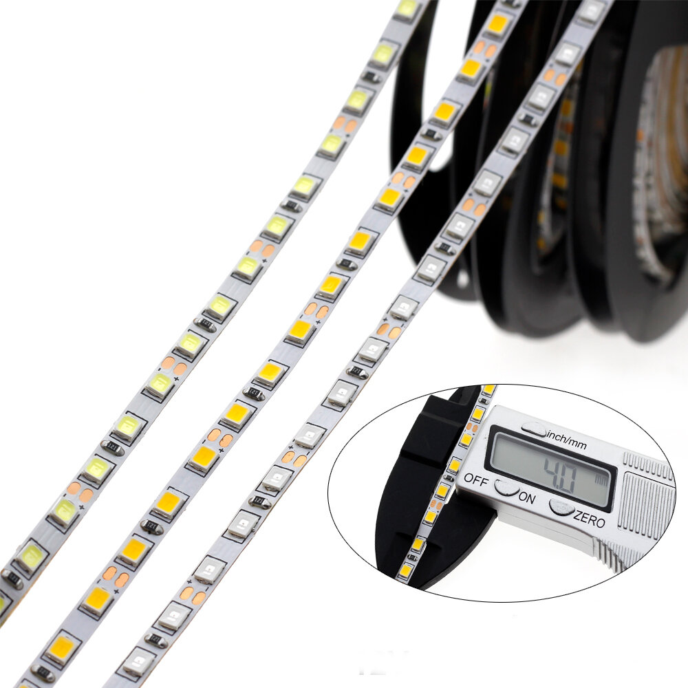 4mm Narrow Width DC12V 5M 2835 Flexible LED Strip Light Non-Waterproof for Home Indoor Bed Decor