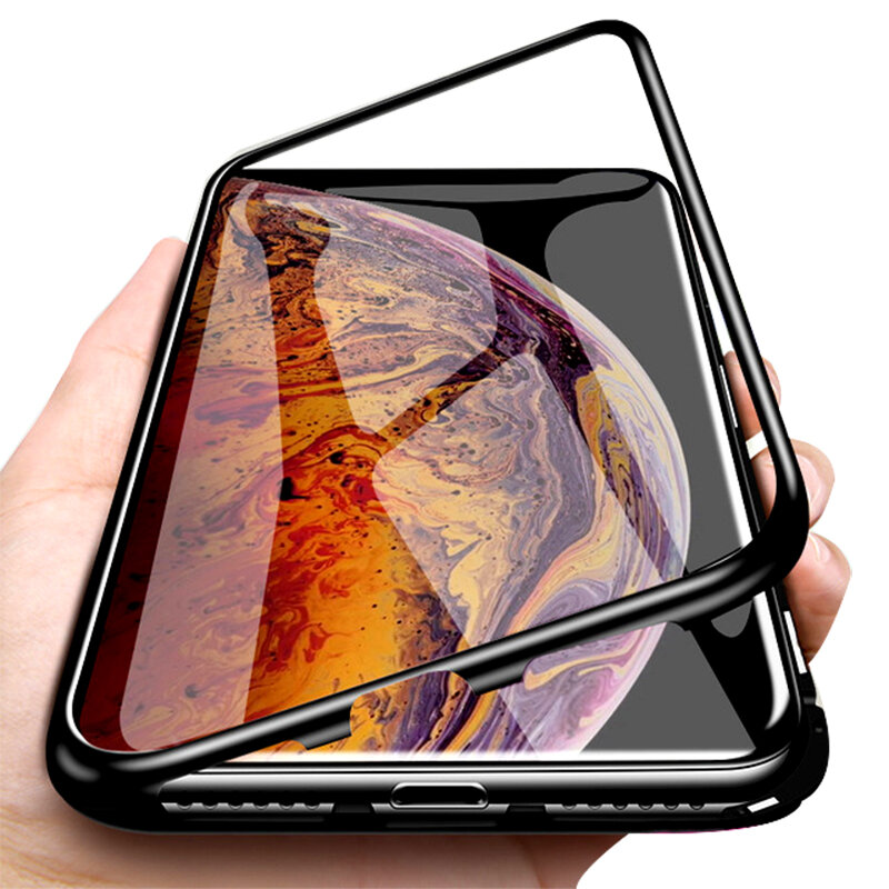 Bakeey Plating Magnetic Adsorption Metal Tempered Glass Protective Case for iPhone XS MAX XR X for iPhone 7 6 6S 8 Plus Back Cover