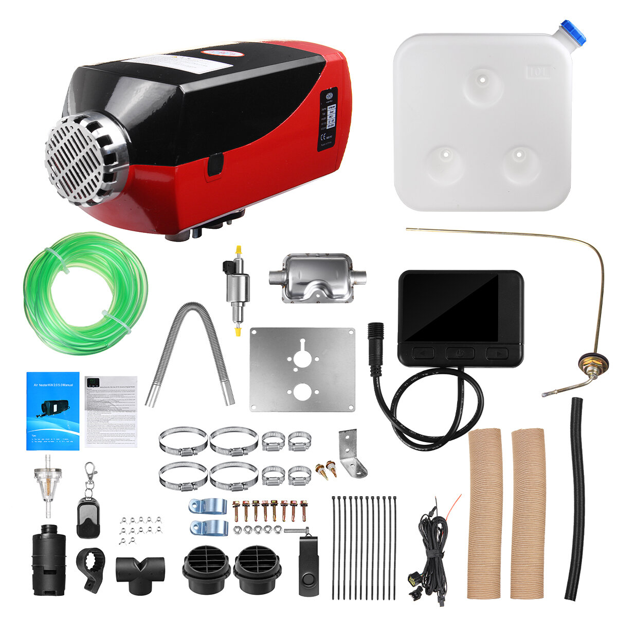 12V 8KW Diesel Air Heater All In One Car Parking Heater Black LCD Thermostat Remote Control