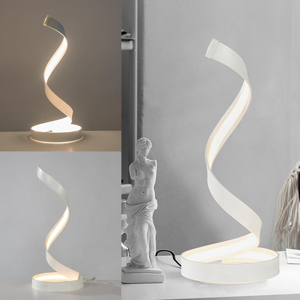 Modern LED Light Bedside Spiral Table Lamp Creative Design Curved  Warm White