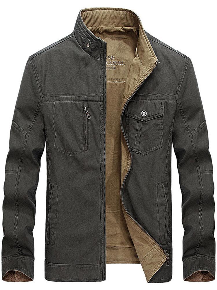 Jaket kantong musim gugur kapas sisi ganda yang dapat dipakai yang dapat dipulihkan untuk pria