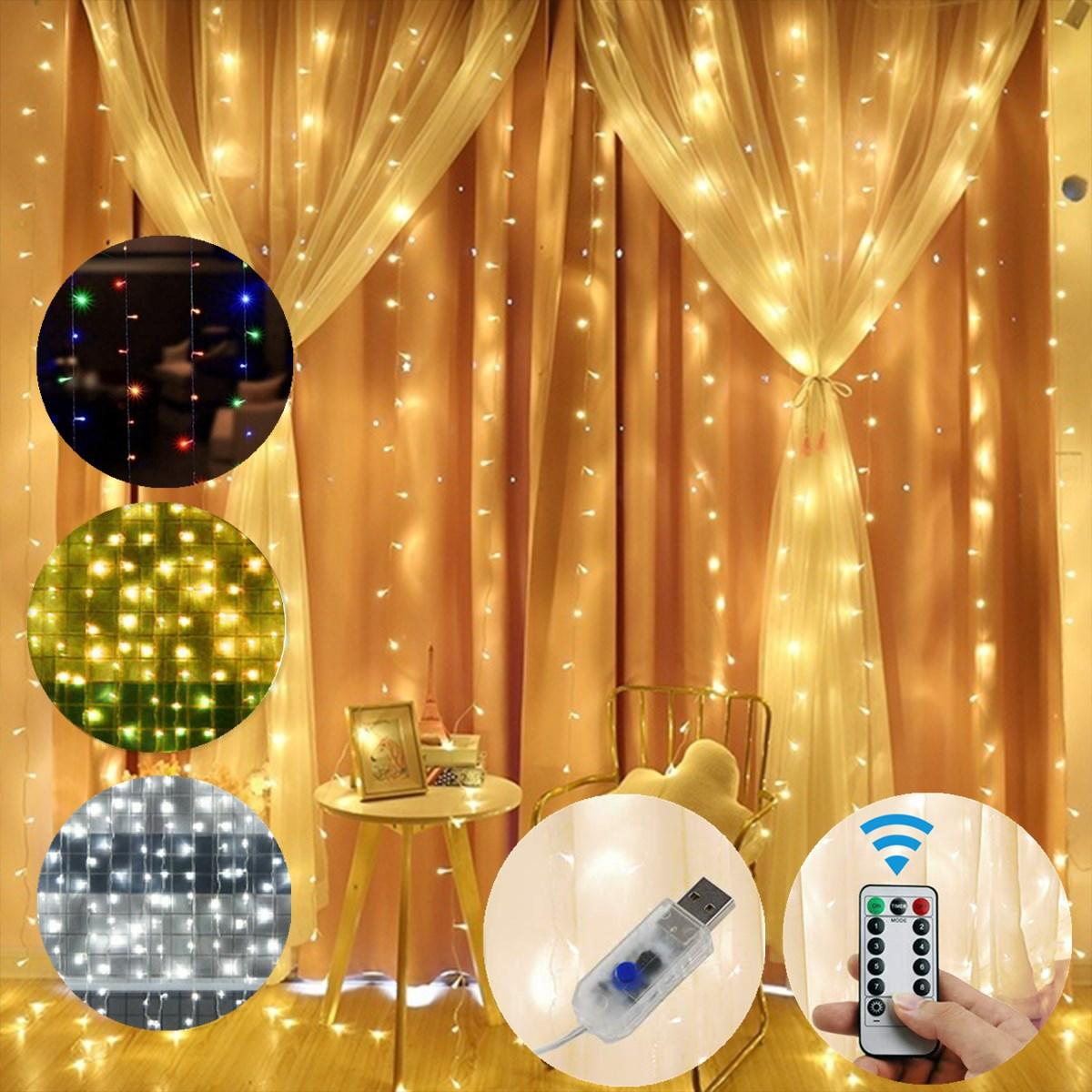 3M*1M/3M*2M USB Waterproof Sliver Wire LED String Light Curtain Tree Strip Fairy Christmas Decorations Clearance Christm, Banggood  - buy with discount