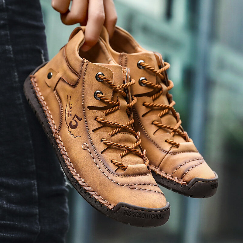 Menico Men Hand Stitching Vintage Microfiber Leather Lace Up Comfy Soft Ankle Boots