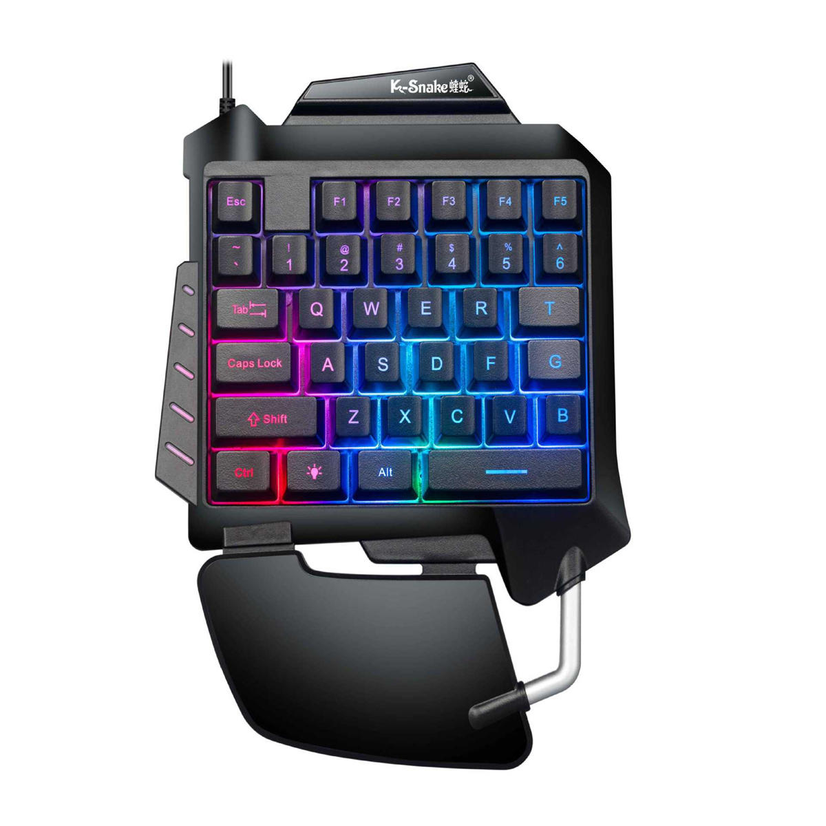 Single Hand Gaming Metal Keyboard Backlit Game Keypad for PUBG Mobile Games