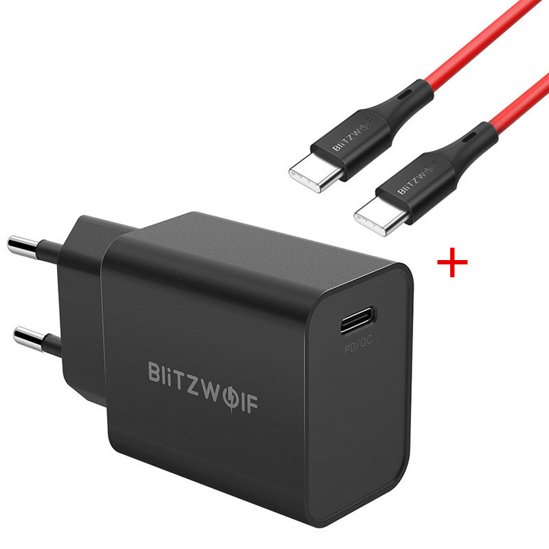 BlitzWolf® BW-S12 27W QC4+ QC4.0 QC3.0 PD Type-C Port Charger + BW-TC17 3A USB PD Type-C to Type-C Charging Data Cable