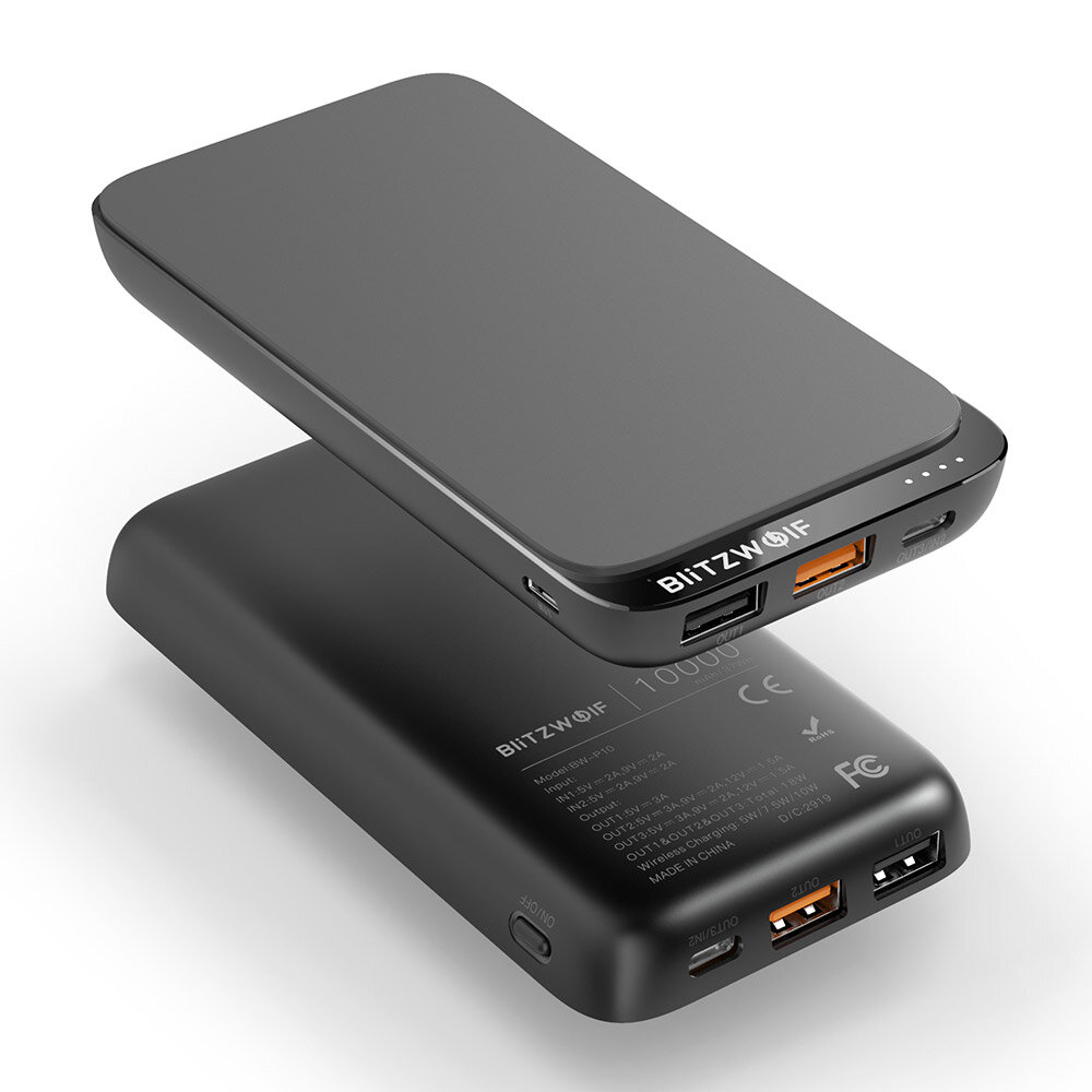 BlitzWolf® BW-P10 10000mAh QC3.0 PD18W בנק כוח מטען 10W אלחוטי עם 4 יציאות לאייפון XS XR למתג XIAOMI MI9 S10 S10+
