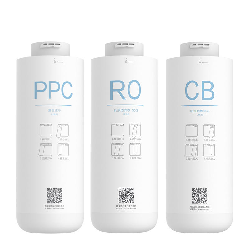 Xiaomi Water Purifier Filter Element PPC Cotton Composite/CB Postposition Position Activated Carbon/RO Reverse Osmosis Filter Element For MRB23/MRB33 Water Purifier