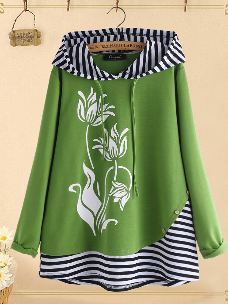 Plus Size Flower Print Stripe Patchwork Hooded Blouse