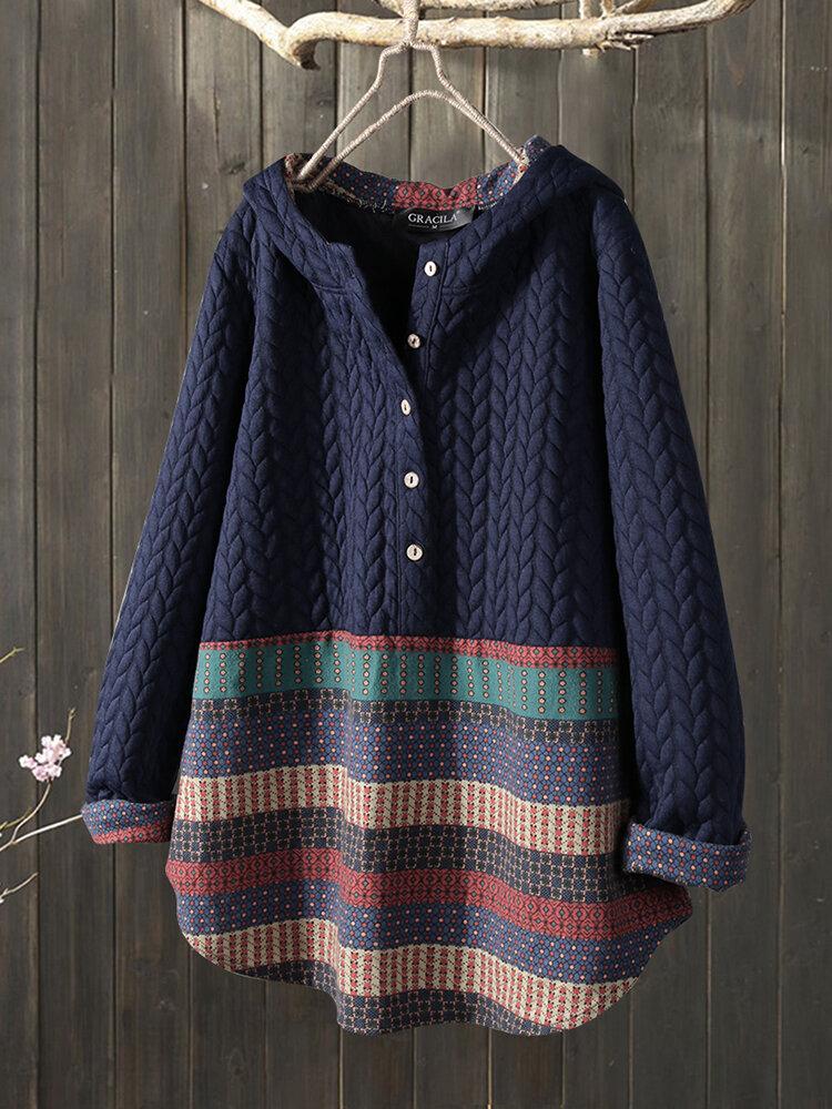 Vintage Jacquard Patch Print Long Sleeve Button Sweatshirt Hoodie