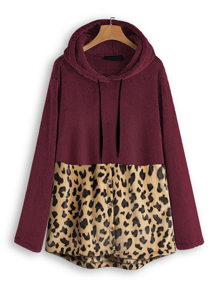 Leopard Print Splice Hooded Fleece Sweatshirt wtih Pocket