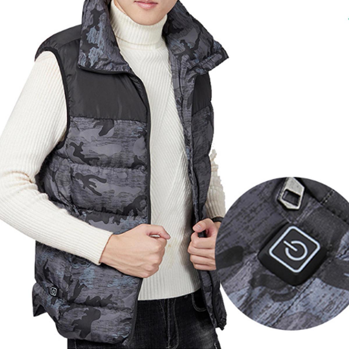 Electric Vest Heated Cloth Jacket USB Warm Heating Pad Body Winter Warmer Gray