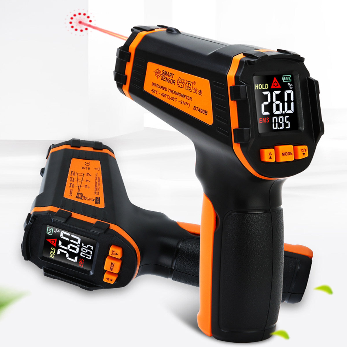 13-Point Infrared Thermometer Handheld Industrial -50~590C Laser Point Thermometer