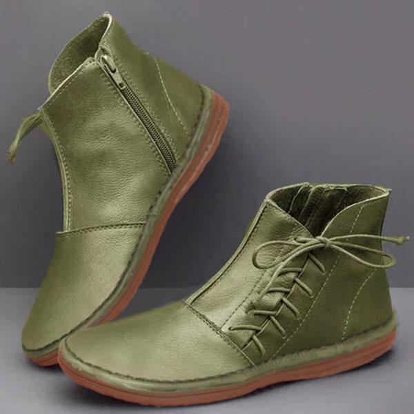 Phụ nữ trang trí nơ tròn Toe Side Zipper mắt cá chân Boots thường