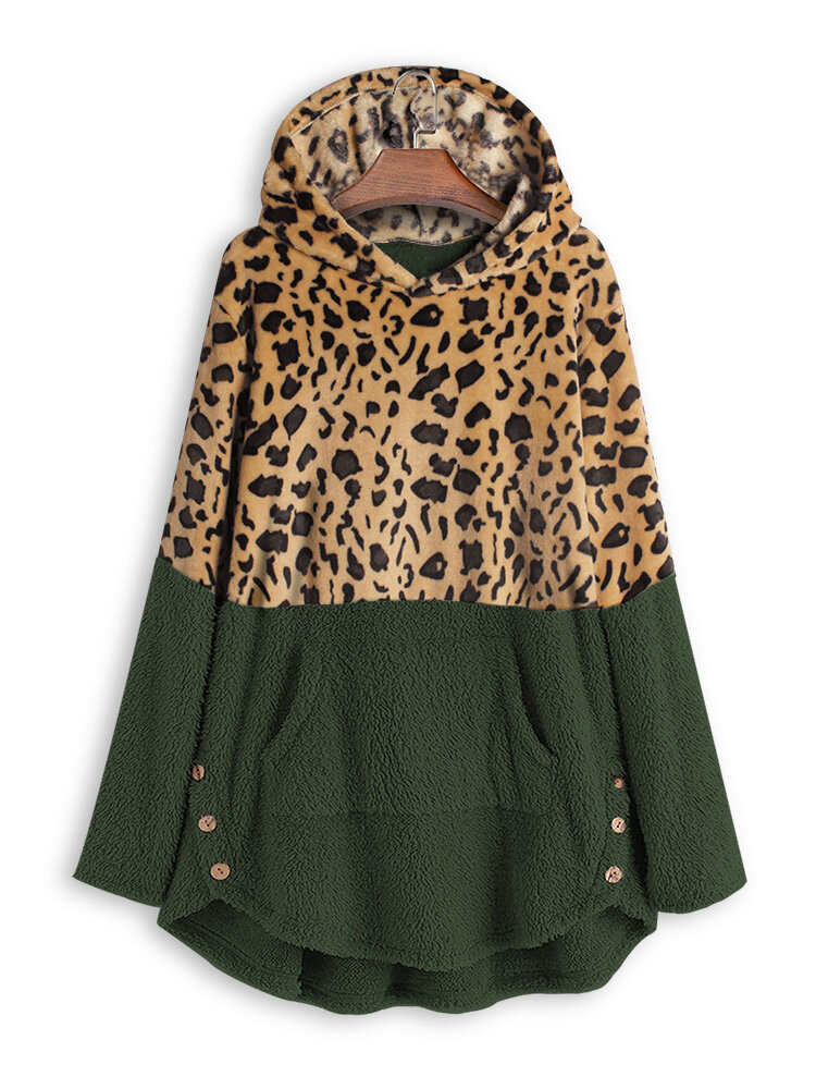 Leopard Print Irregular Hem Hooded Fleece Sweatshirt with Pocket