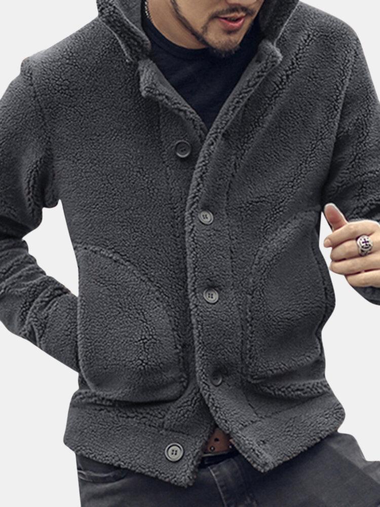 Mens Plush Coat Stylish Warm Fur Collar Side Pockets Winter Short Jacket