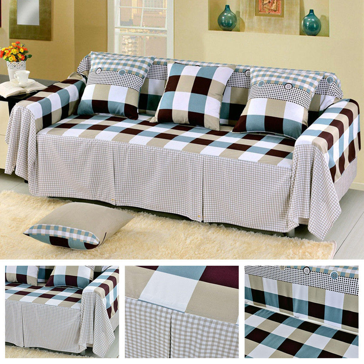 1/2/3/4 Seaters Sofa Easy Slipcover Stretch Protector Washable Soft Couch Chair Covers Protector