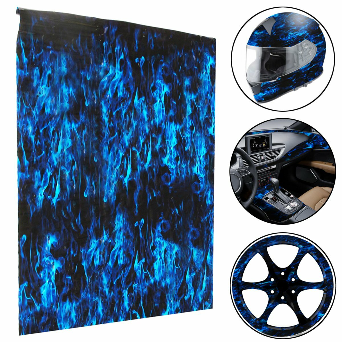 PVA Hydrographic Film Water Transfer Printing Film Hydro Dip Blue Fire Style Decorations