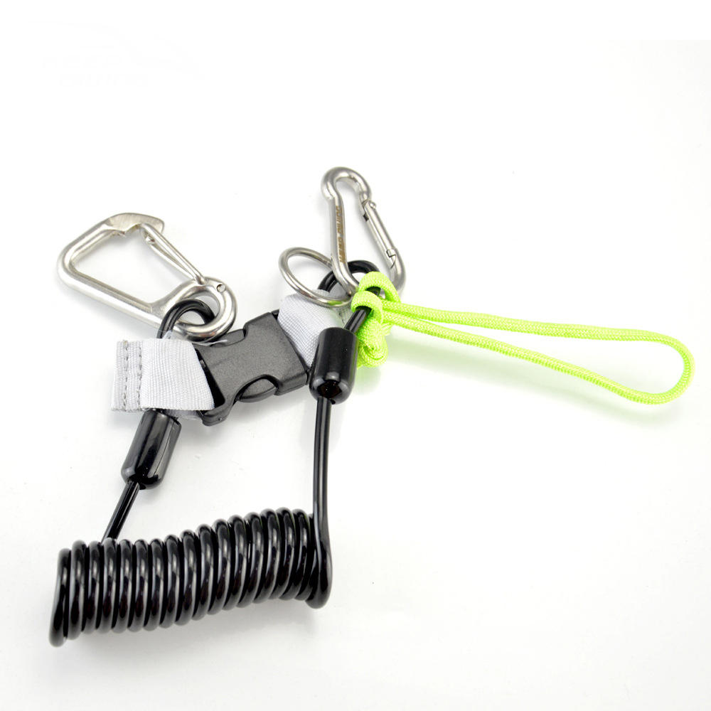 KEEP DIVING SSA-FDS21 Diving Anti-lost Rope Stainless Steel Spring Rope Camera Rope Hanging Rope Diving Accessories-Blac фото