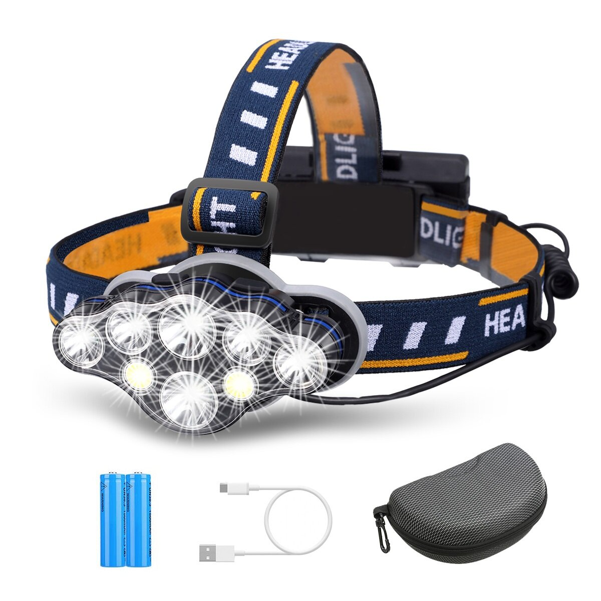 OUTERDO 3300LM 8Modes 8LED Rechargeable Headlamp Flashlight with USB Cable 2 Batteries, Waterproof LED Head Torch Head L