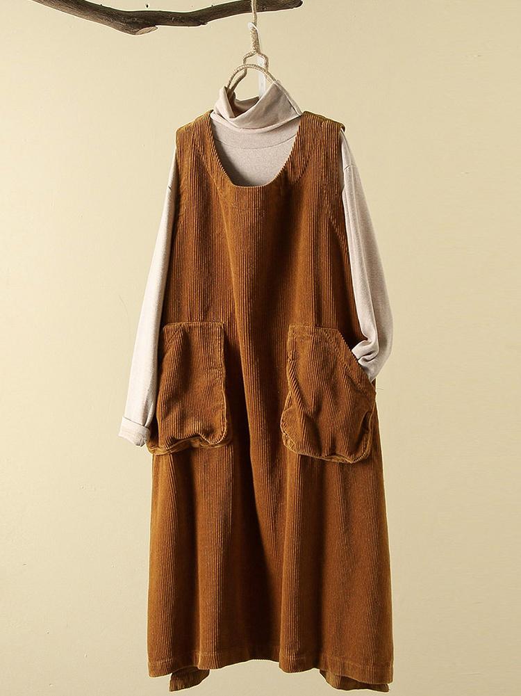 Casual Women Corduroy Loose Pure Color Split Hem Sleeveless Dress
