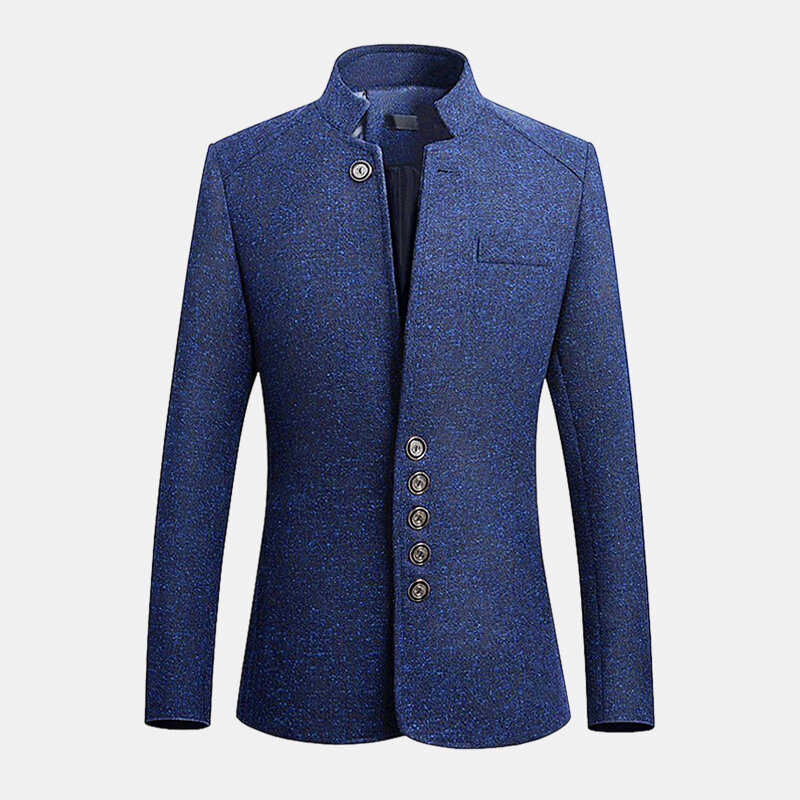 Mens Berdiri Collar Casual Slim Gentleman British Style Jacket Coats