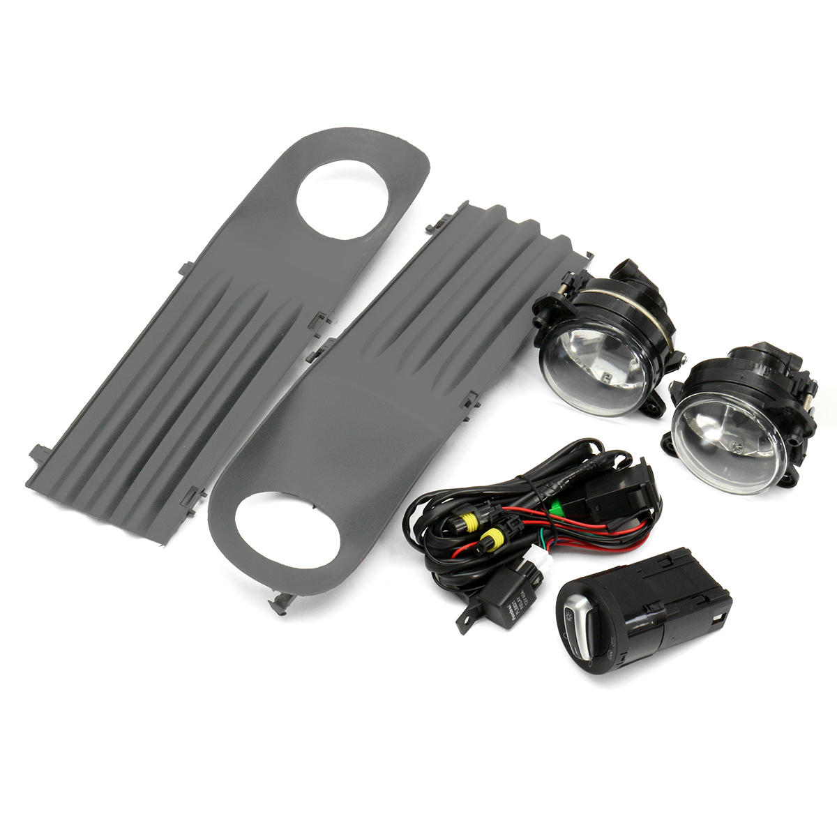 Car Front Fog Lights Grille Kit Set with Wiring Headlight Switch For VW T5 Transporter 2003-2010