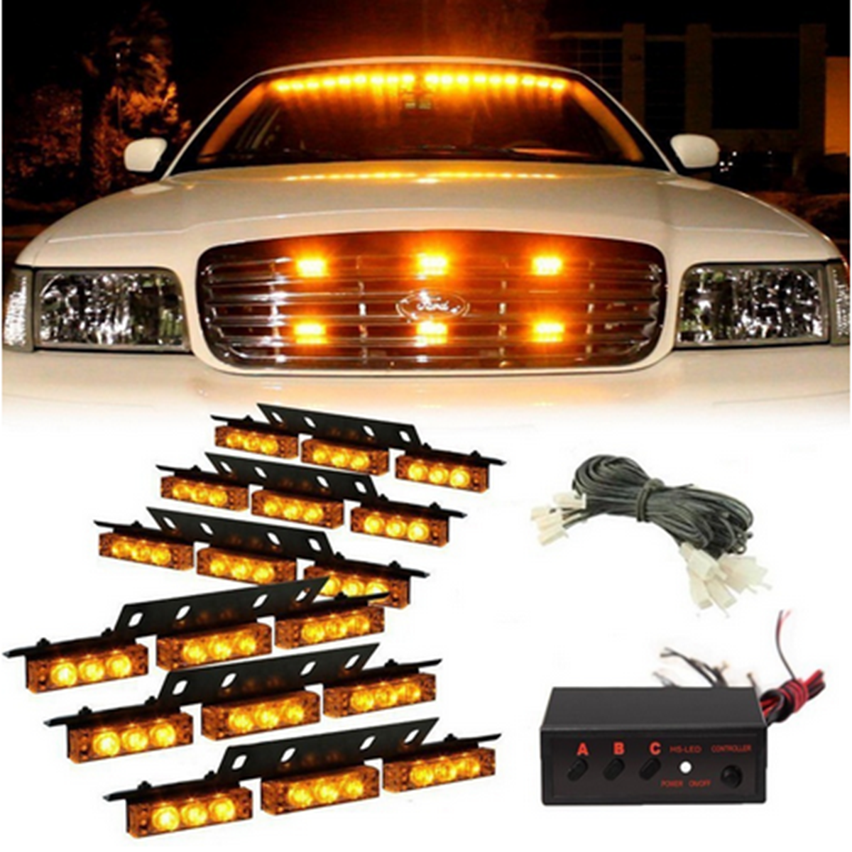Emergency Strobe Lights >> 54 Led Emergency Strobe Lights Front Grill Flash Lamps With 3 Flashing Mode Yellow For 12v Vehicles