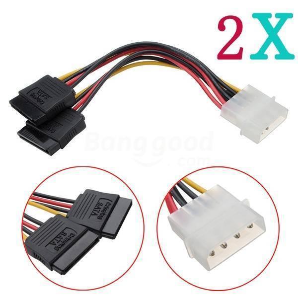 2X4Pin IDE Molex to 2 Serial ATA SATA Splitter Hard Drive Power Cable