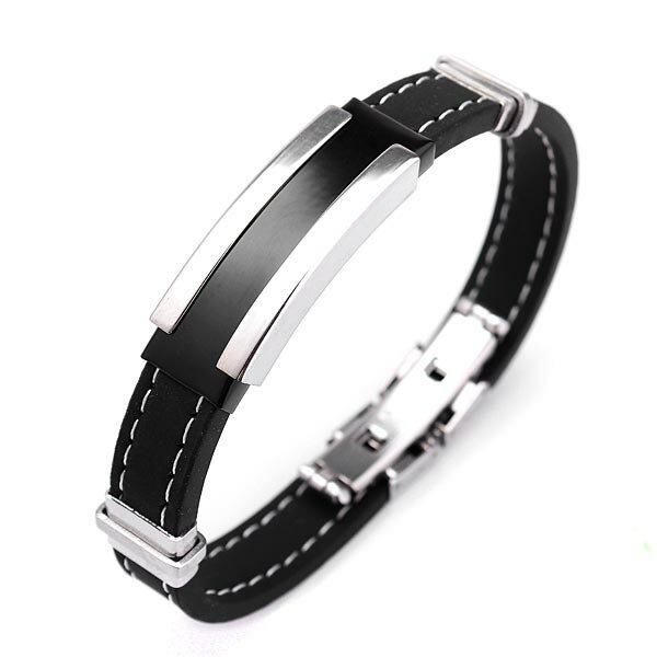 Men Silver Stainless Steel Bangle Bracelet Black Rubber