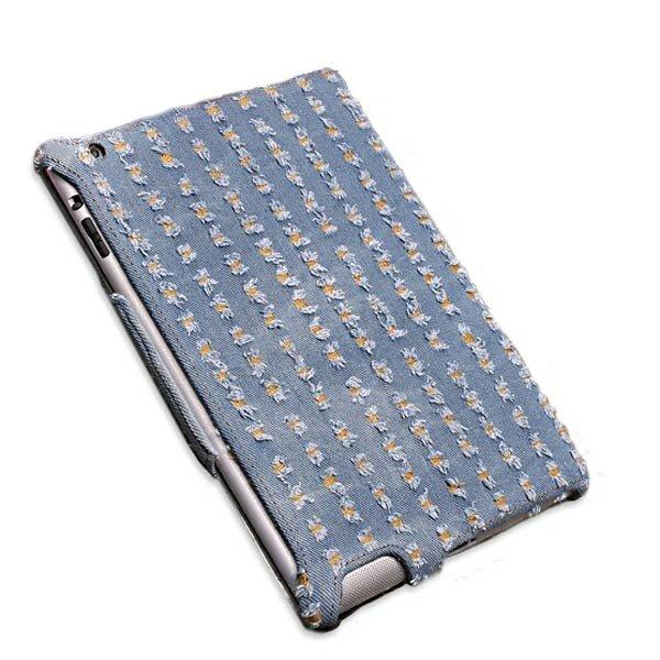 Denim Fabric Microfiber Embossing Varme Styling Skin Case For iPad 2 3
