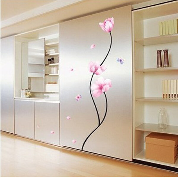 Removable PVC Pink Flower Stem Wall Sticker Room Decor Decal