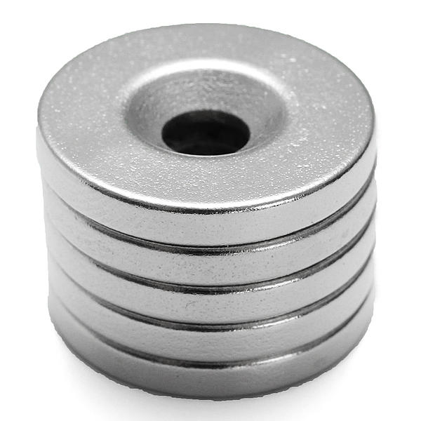 5pz Magnete Forte 20mmx3mm Foro da 5mm Magnete al Neodimio di Terre Rare