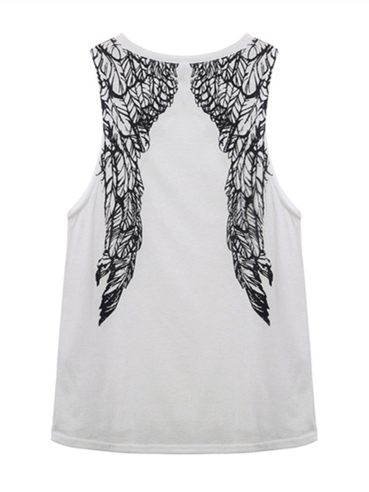 Women Casual Summer Back Wings Printed Sleeveless Cotton Tops Vest