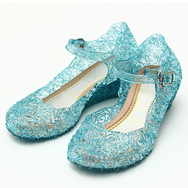 Frozenly Elsa Princess Crystal Hole Sandalias Chicas Cosplay Girl Shoes Blue