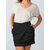 Women Solid Color Elastic Back Zipper Knitted Irregular Skirts with Pockets
