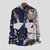 Mens 100% Cotton Printed Practical Pocket Long Sleeve Casual Shirts